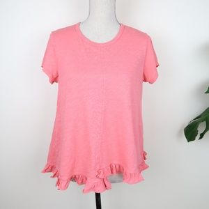 Anthropologie Left of Center Coral Peplum Top S